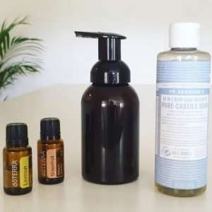Ingredients to make Dr. Bronner's hand soap recipe