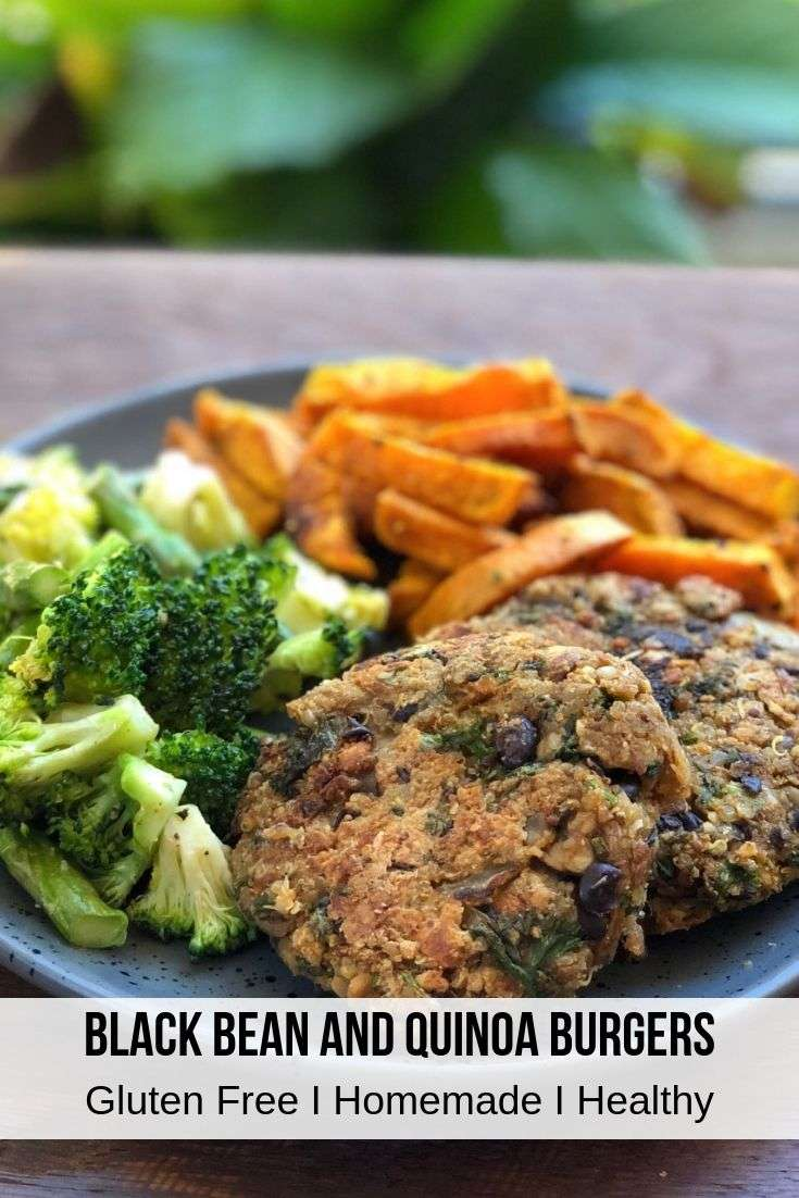 This black bean veggie burger recipe is the perfect meatless monday burger substitute. These homemade veggie burgers are made with mushroom, quinoa, black beans, oats and nuts for the best veggie burger recipe you will find! These veggie burgers with no bun are best served with fresh steamed broccoli and sweet potato fries for a delicious vegetarian dinner. #veggieburger #vegetariandinner #healthydinner