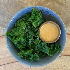 steamed kale with sesame tahini sauce
